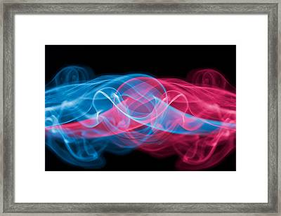 Red And Blue Smoke Framed Print