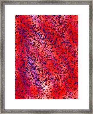 Red And Blue Splatter Abstract Framed Print