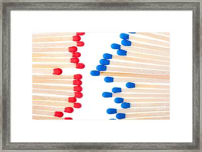 Red And Blue Unused Wooden Matches  Framed Print