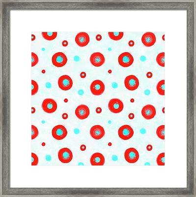 Red And Cyan Circles Pattern - Large Framed Print