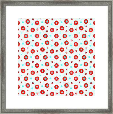 Red And Cyan Circles Pattern Framed Print