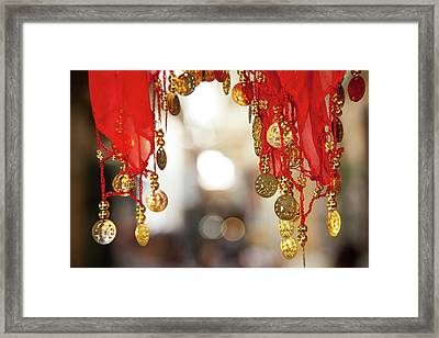 Red And Gold Entrance To Market Framed Print