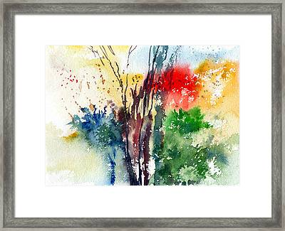 Red And Green Framed Print by Anil Nene