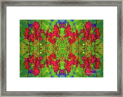Framed Print featuring the digital art Red And Green Floral Abstract by Linda Phelps