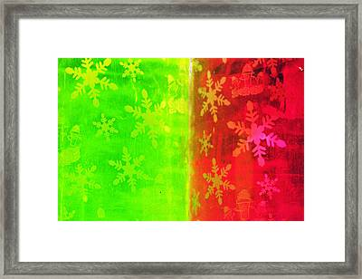 Red And Green With A Snowflake Pattern Framed Print by Richard Henne