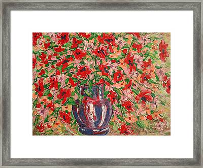 Red And Pink Poppies. Framed Print