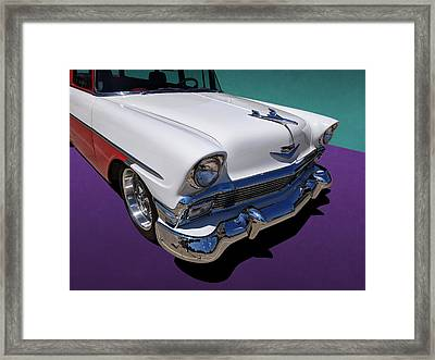 Red And White 1950s Chevrolet Wagon Framed Print