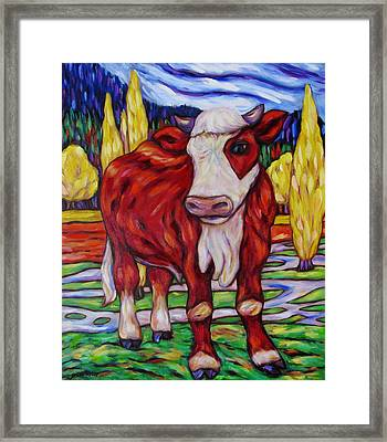 Framed Print featuring the painting Red And White Bull Calf by Dianne  Connolly