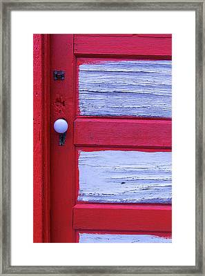 Red And White Door Framed Print by Garry Gay
