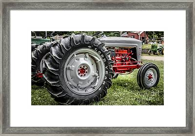 Red And White Ford Model 600 Tractor Framed Print by Edward Fielding