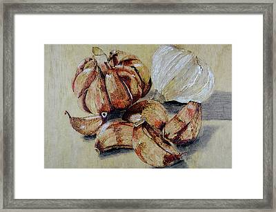 Red And White Garlic Framed Print