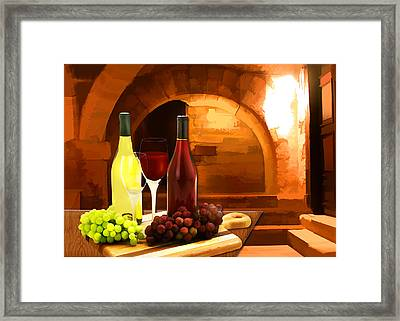 Red And White In The Cellar Framed Print by Elaine Plesser