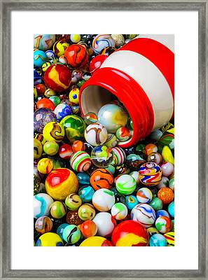 Red And White Jar With Marbles Framed Print by Garry Gay