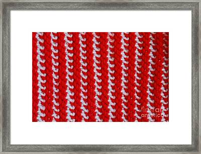 Red And White Knit Framed Print