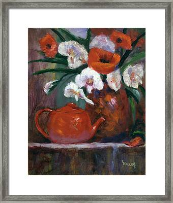 Red And White Framed Print by Linda Hiller