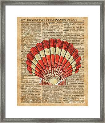 Red And White Ocean Sea Shell Dictionary Book Page Art Framed Print by Jacob Kuch