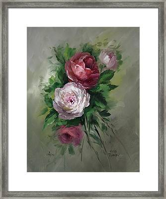 Red And White Roses Framed Print by David Jansen