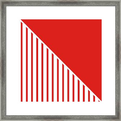 Red And White Triangles Framed Print