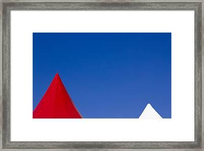 Red And White Triangles Framed Print by Prakash Ghai