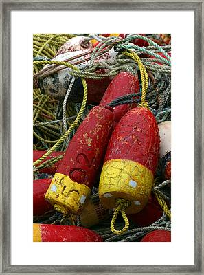 Red And Yellow Buoys Framed Print