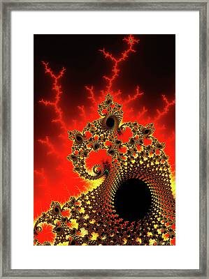 Red And Yellow Crazy Fractal Framed Print