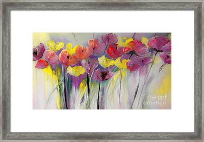 Red And Yellow Floral Field Painting Framed Print by Lisa Kaiser