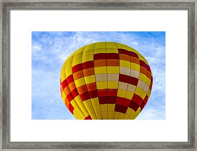 Red And Yellow Hot Air Balloon Framed Print by Teri Virbickis