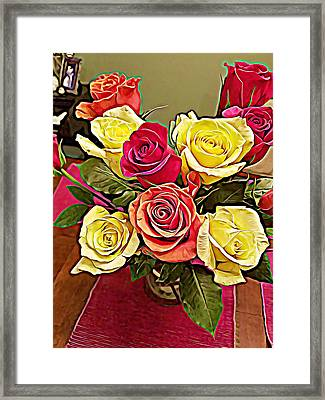Red And Yellow Rose Bouquet Framed Print