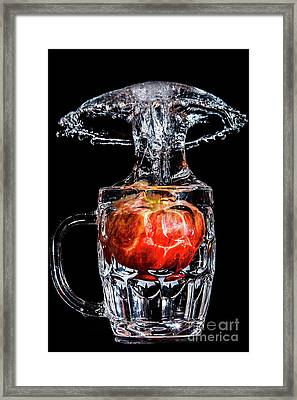 Framed Print featuring the photograph Red Apple Splash by Ray Shiu