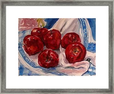 Red Apples Framed Print by Doranne Alden