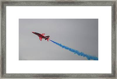 Framed Print featuring the photograph Red Arrow Blue Smoke - Teesside Airshow 2016 by Scott Lyons