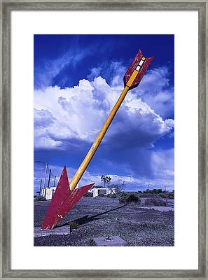 Red Arrow With Clouds Framed Print by Garry Gay