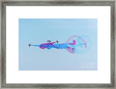 Framed Print featuring the photograph Red Arrows Break by Gary Eason