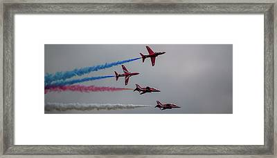 Framed Print featuring the photograph Red Arrows Break Off - Teesside Airshow 2016 by Scott Lyons