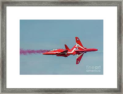 Framed Print featuring the photograph Red Arrows Crossover by Gary Eason