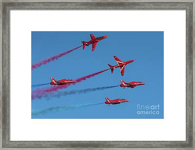 Framed Print featuring the photograph Red Arrows Enid Break by Gary Eason
