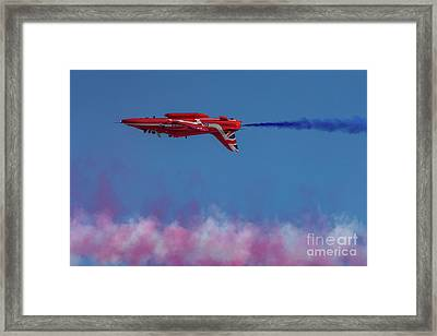 Framed Print featuring the photograph Red Arrows Hawk Inverted  by Gary Eason