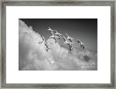 Framed Print featuring the photograph Red Arrows Sky High Bw Version by Gary Eason