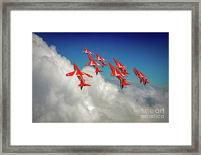 Framed Print featuring the photograph Red Arrows Sky High by Gary Eason