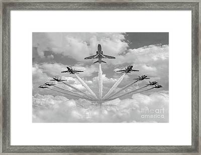 Framed Print featuring the photograph Red Arrows Smoke On Bw Version by Gary Eason