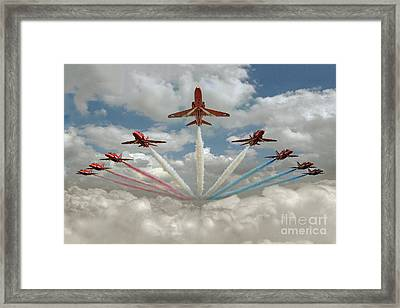 Framed Print featuring the photograph Red Arrows Smoke On  by Gary Eason