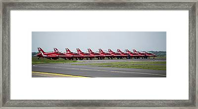 Framed Print featuring the photograph Red Arrows - Teesside Airshow 2016 Aircraft Check by Scott Lyons