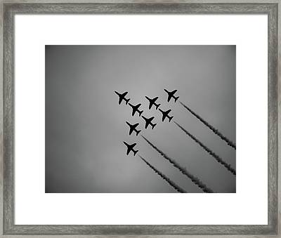 Framed Print featuring the photograph Red Arrows - Teesside Airshow 2016 Silhouette by Scott Lyons