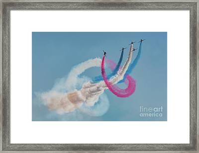 Framed Print featuring the photograph Red Arrows Twister by Gary Eason