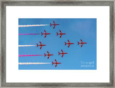 Framed Print featuring the photograph Red Arrows Typhoon Formation by Gary Eason
