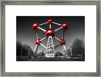 Red Atomium Framed Print