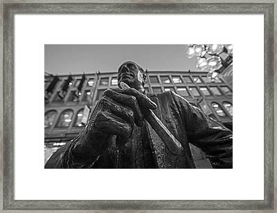 Red Auerbach Chilling At Fanueil Hall Black And White Framed Print by Toby McGuire