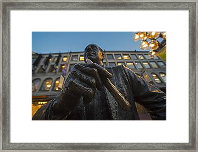 Red Auerbach Chilling At Fanueil Hall Framed Print by Toby McGuire