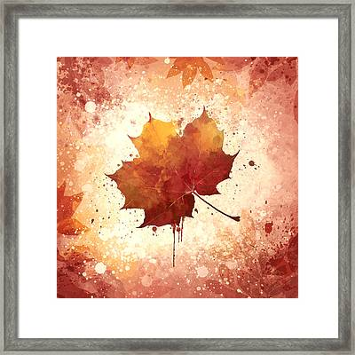 Red Autumn Leaf Framed Print by Thubakabra