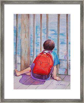 Red Backpack Framed Print
